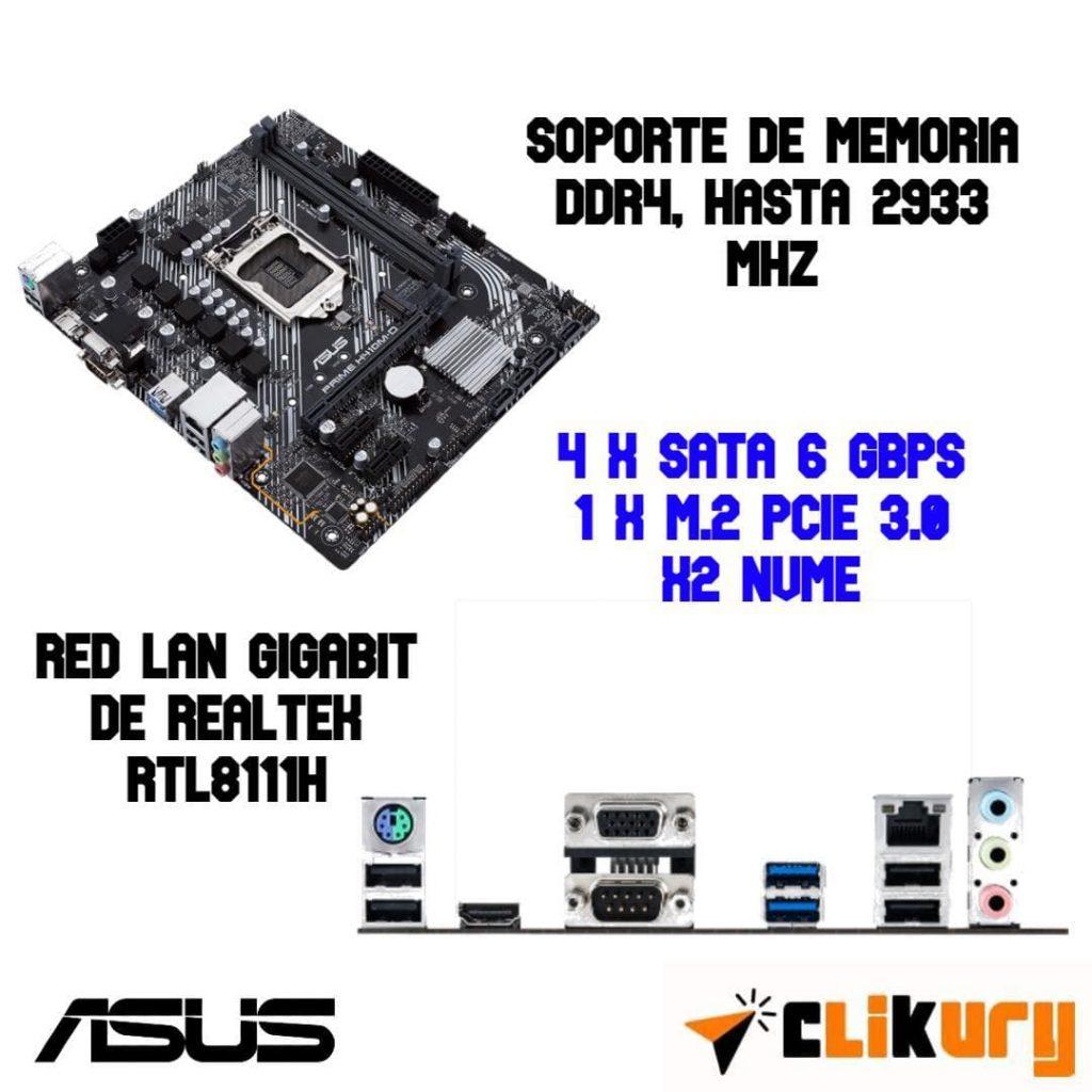 especificaciones tarjeta base Asus Prime H410M-D